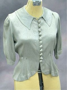 Rare vintage 1930s blouse.  Feels like 1930s silk or satin.
