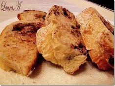 Cozonac umplut cu ciocolata - felii pufoase French Toast, Breakfast, Food, Morning Coffee, Meal, Essen, Hoods, Meals, Morning Breakfast