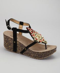 Take a look at this Black Olena Wedge by Bucco on #zulily today! very cute
