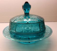 """""""Doric & Pansy"""" Covered Butter Dish - Ultramarine Blue 1930's"""