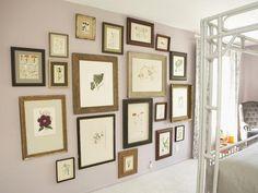 Floor-to-Ceiling Gallery, Vintage Botanicals --> http://www.hgtv.com/designers-portfolio/room/romantic/dining-rooms/7845/index.html#/id-7784/room-bedrooms/style-romantic?soc=pinterest