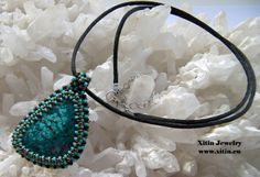 Turquoise Bead embroidery pendant