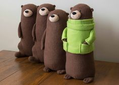 A New Friend - Smuggles the Otter! A New Friend - Smuggles the Otter! Fabric Animals, Sock Animals, Clay Animals, Sewing Stuffed Animals, Stuffed Animal Patterns, Handmade Stuffed Animals, Sock Toys, Felt Toys, Sock Crafts