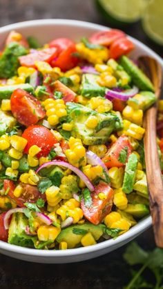 Party Summer Salads To Amaze Your Guests Corn Tomato Avocado Salad Save Print. Party Summer Salads To Amaze Your Guests Corn Tomato Avocado Salad Save Print Prep time 10 mins Corn Salad Recipe Easy, Corn Salad Recipes, Summer Salad Recipes, Corn Salads, Avocado Recipes, Chopped Salads, Vegetable Salad Recipes, Veggie Snacks, Green Salad Recipes