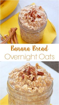 Banana Bread Overnight Oats. Make this simple breakfast tonight and it's ready in the morning. Dairy free, gluten free and vegan friendly! Overnight Oats In A Jar, Overnight Breakfast, Healthy Overnight Oatmeal, Overnight Bread Recipe, Healthy Morning Breakfast, Oatmeal Breakfast Recipes, Dairy Free Overnight Oats, Healthy Breakfast Choices, Healthy Oatmeal Recipes