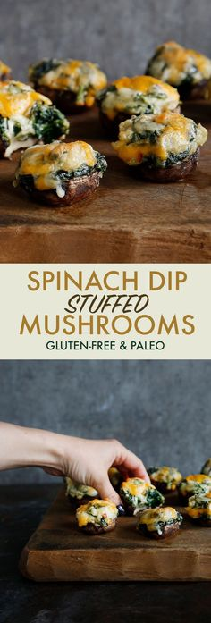 Spinach Dip Stuffed Mushrooms (dairy-free, healthy, paleo)