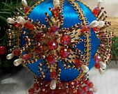 Vintage beaded Christmas ornament satin ball with beads 1960s or 1970s LARGE