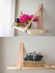 Wood with leather strap shelf