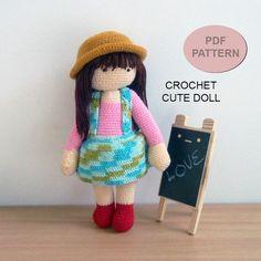 Crochet Cute Doll PDF Pattern, patterns&tutorials, diy crochet pattern, Crochet Pink Doll, crochet gift
