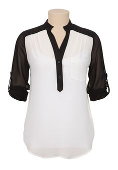 3/4 Sleeve Chiffon Contrast Blouse with Pocket (original price, $29) available at #Maurices GOT IT!