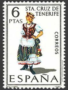 Old Spanish 6 Peseta postage stamp -  Santa Cruz de Tenerife