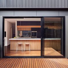 Kitchen opening onto courtyard
