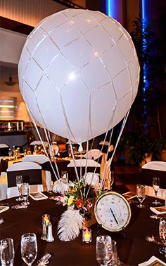 Steampunk inspired hot air balloon centerpiece at Walt Disney World wedding reception
