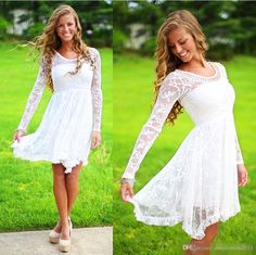 Short Country Wedding Dresses With Long Sleeves Crystal Neckline Knee Length Lace Wedding Gowns Short Beach Bridal Wedding Dress