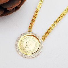 On Çeyrek Altınlı Halat Zincirli Kolye Gold Necklace, Pendant Necklace, Coin Pendant, Jewellery, Model, Black, Accessories, Gold Pendant Necklace, Jewels
