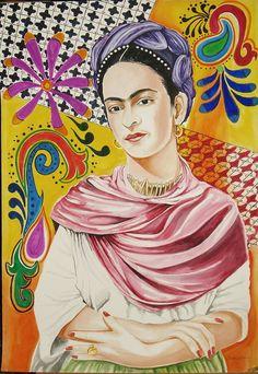 Large Original Frida Kahlo Watercolor by TatsGramsDelights on Etsy