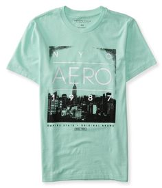 "Take the Big Apple's streets by storm in a bold favorite: our Aero City Logo Graphic T. Featuring fresh monochromatic skyline graphics and slick signature text, this rad shirt will take you places.<br><br>Authentic fit. Approx. length (M): 28.5""<br>Style: 7267. Imported.<br><br>100% cotton.<br>Machine wash/dry."