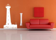 XLarge lighthouse - removable vinyl wall decal / sticker / mural for your nursery bed room living room or playroom decor