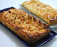 Trenza de hojaldre de salmón, puerro y crema de queso emmental