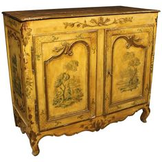 18th Century Lacquered and Hand-Painted Sideboard | From a unique collection of antique and modern cupboards at https://www.1stdibs.com/furniture/storage-case-pieces/cupboards/