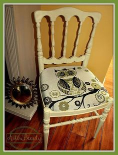 a little fabric a little paint what a hoot of a chair, painted furniture, the finished chair what a hoot