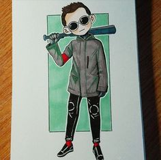 Lil Ty with a bat how cute. It's also really well dun... hehe