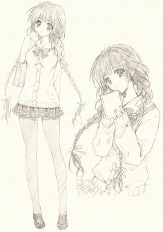 Sketch of schoolgirl with long braided pigtails wearing school uniform (fuku) by manga artist Carnelian.