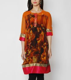 Digitally Printed Georgette Tunic with Gota Patti
