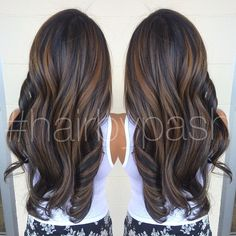 Dimensional brown balayage highlights courtesy of @hairbypash in O'ahu, Hawaii