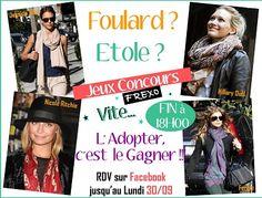 Dépêchez-vous, fin du CONCOURS ce jour !!! Il ne vous reste plus que quelques heures pour tenter de GAGNER votre #Etole ou votre #Foulard !  Venez participer : http://www.facebook.com/frexo.fr