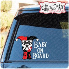 "Baby Harley Quinn ""Baby On Board""  Vinyl Car/Truck/ Decal Sticker"