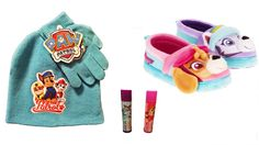 Just what Every Little Girls needs in Winter Weather  Paw Patrol Skye Everett Plush Slippers PLUS Turquoise Knit Hat and Gloves and Lip Balm  Slippers Are Available in Size Medium (7/8) and XL (11/12)  #PawPatrol