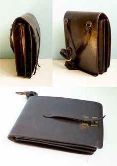 77aa7ab0d826 Vintage brown leather bag sturdy leather miltary 60s - €54