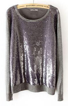 Grey Long Sleeve Sequined Pullover Sweater. This is awesome!