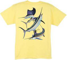 CAL TEES / GUY HARVEY SHIRTS - Guy Harvey Grand Slam Boys Tee Shirt in Dark Pink, Denim Blue, Turquoise, White, Yellow, Royal Blue or Orange, $15.00 (http://www.guyharveyshirts.com/guy-harvey-grand-slam-boys-tee-shirt-in-dark-pink-denim-blue-turquoise-white-yellow-royal-blue-or-orange/)
