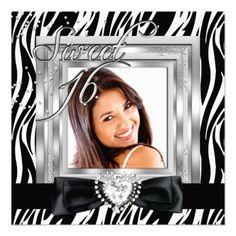 Sweet 16 Sweet Sixteen Zebra Black Photo Invitations by zizzago.com