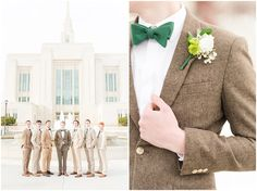 Groomsmen in tan and brown suits with emerald green ties during Ogden Temple winter wedding Tan Groomsmen Suits, Groom And Groomsmen, Temple Wedding, Dream Wedding, Wedding Stuff, Brown Suit Wedding, Ogden Temple, Lds Bride, Magnolia Wedding