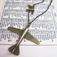 Airplane and Bird Necklace, now featured on Fab.