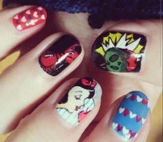 SnowWhite nails#ネイル #ネイルアート  #セルフネイル  #セルフネイル部  #nail #nails #nailart #nailstagram #naildesign   #beautiful  #fashion  #art #disney #snowwhite ###