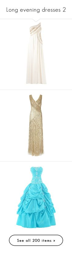 """Long evening dresses 2"" by irnarenko ❤ liked on Polyvore featuring dresses, gowns, vestidos, long dresses, long white gown, long sequin gown, silk gown, white gown, long gowns and gold"