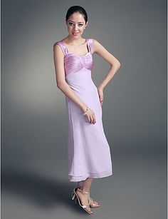 A-line Straps Tea-length Chiffon Stretch Satin Mother of the Bride Dress With A Wrap – USD $ 109.99