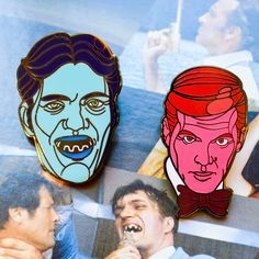 Roger Moore as James Bond 007 and Richard Keil as the infamous henchman, Jaws!  Show your love for the longest-running movie franchise with these sharp 1.25 hard enamel pins. These are high-quality Hard Enamel Pins. Pin has black rubber backing. Design is limited to only 100 pieces. I ship orders once per week on Mondays so please be patient. Thanks