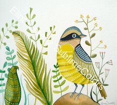 Yellow bird with plants floral wall art /Print by sublimecolors