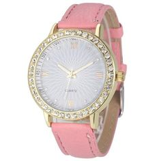 Women Fashion Crystal Analog PU Leather Wrist Watch