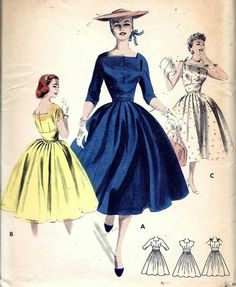 Vintage 50s Butterick 7601 Rockabilly Dress Pattern B34 16