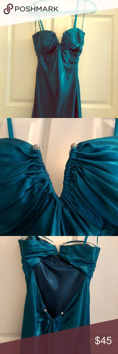 Prom Dress Beautiful Prom Dress worn once. Beautiful and very flattering dress with open back and beautiful design that accentuates your back and butt. Size 4. Can be worn with straps or strapless. La Femme Dresses Prom