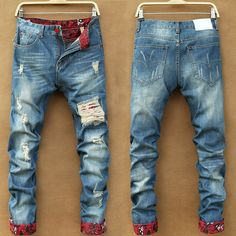 New arrival fashion printing male personality distressed denim pants stylish broken hole scratched casual jeans trousers for men