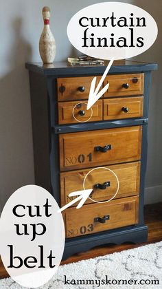 Dresser Makeover With a Belt   Hometalk-like that the drawers were left natural and the rest painted. Cute idea with belt.