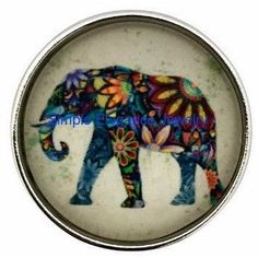 #247 Painted Elephant Snap 20mm for Snap Jewelry
