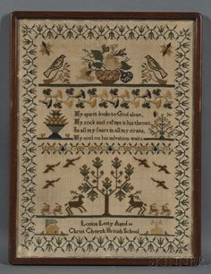 "Needlework Sampler, ""Louisa Lesty Aged 14 Christ Church British School,"" probably early 19th century"